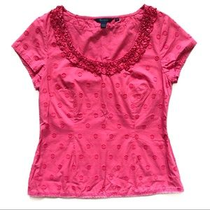 Boden Red Scoop Neck Structured Top 10